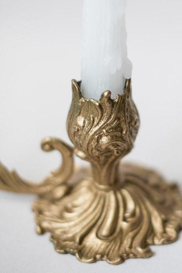Подсвечник из бронзы с ручкой