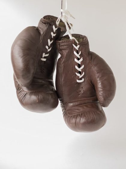 Винтажные боксерские перчатки коричневые