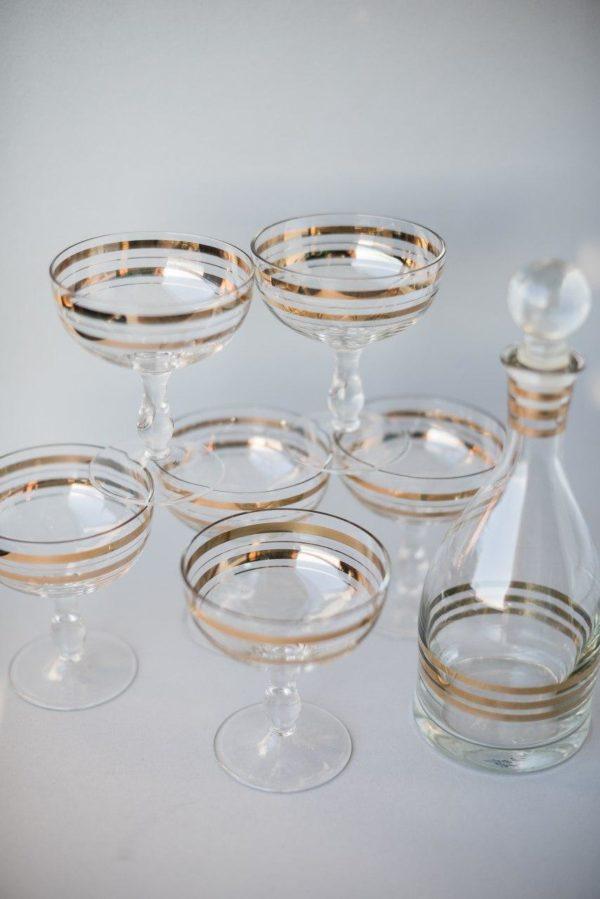 Набор бокалов креманок и графин из хрусталя