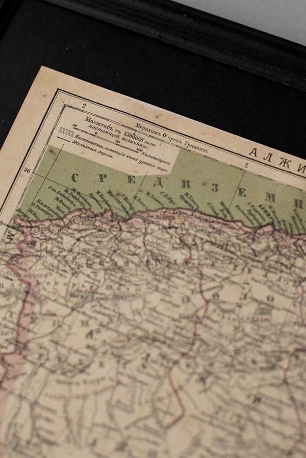 Гравюра Карта Алжир и Тунис