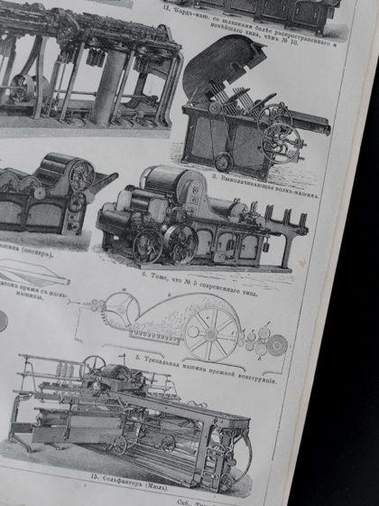 Гравюра Бумагопрядильные машины