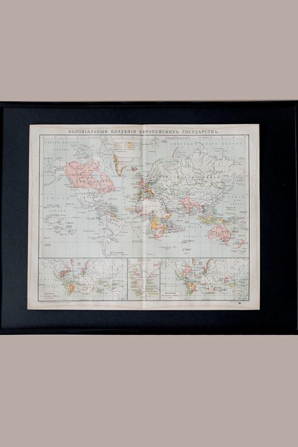 Гравюра Колониальные владения Европы
