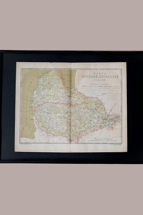 Гравюра Карта Ковенской и Курляндской губерний
