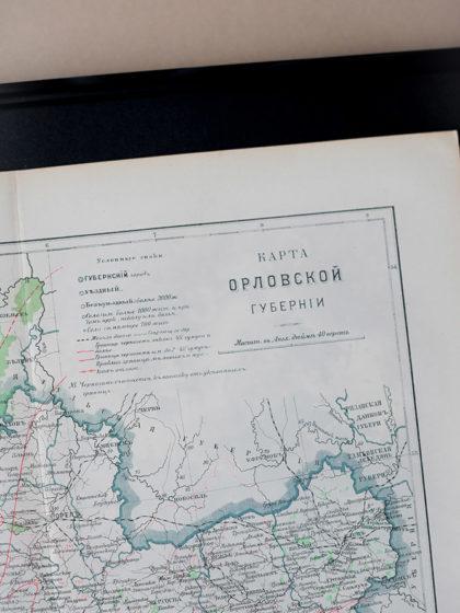 Гравюра Карта Орловской губернии