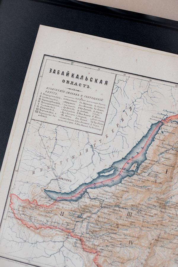Гравюра Карта Забайкальской области