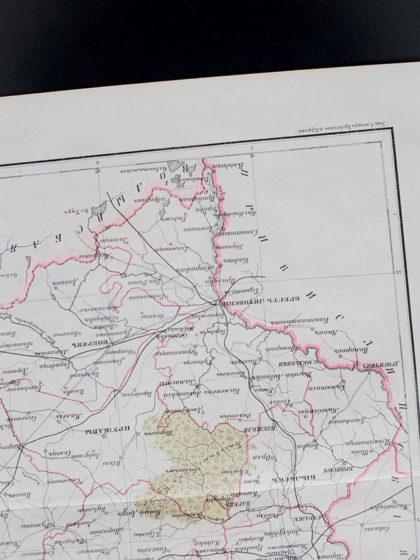 Гравюра Карта Гродненской губернии