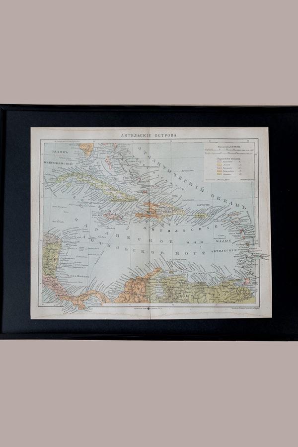 Гравюра Антильские острова
