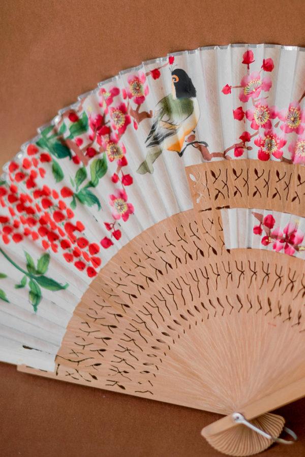 Старинный китайский веер с ручной росписью