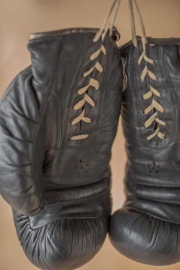 Винтажные боксерские перчатки черные