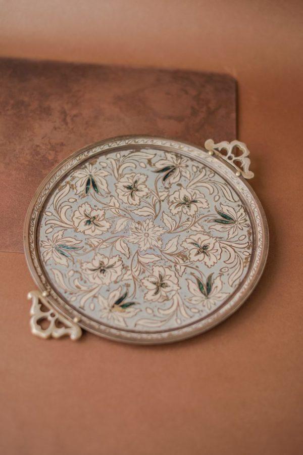 Индийский винтажный поднос с эмалью