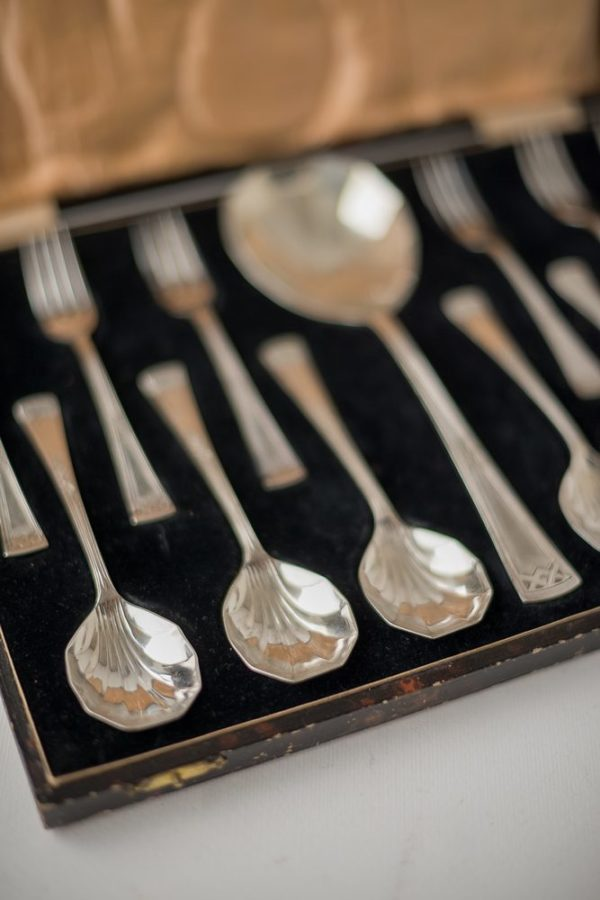 Английский десертный посеребренный набор в футляре