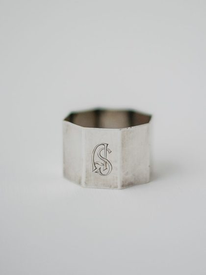 Кольцо для салфеток латунное с посеребрением и гравировкой WMF