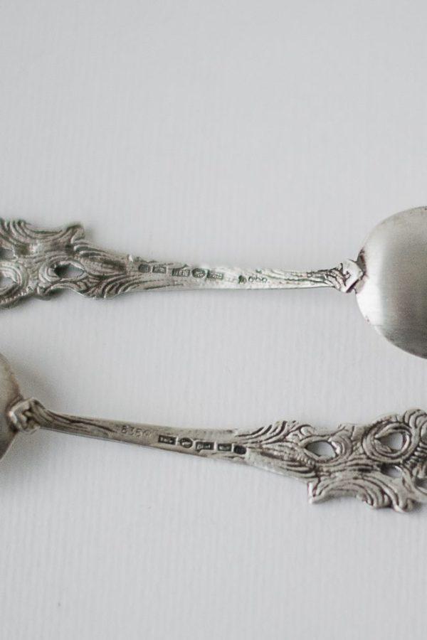 Ложка серебряная шведская с декоративной ручкой