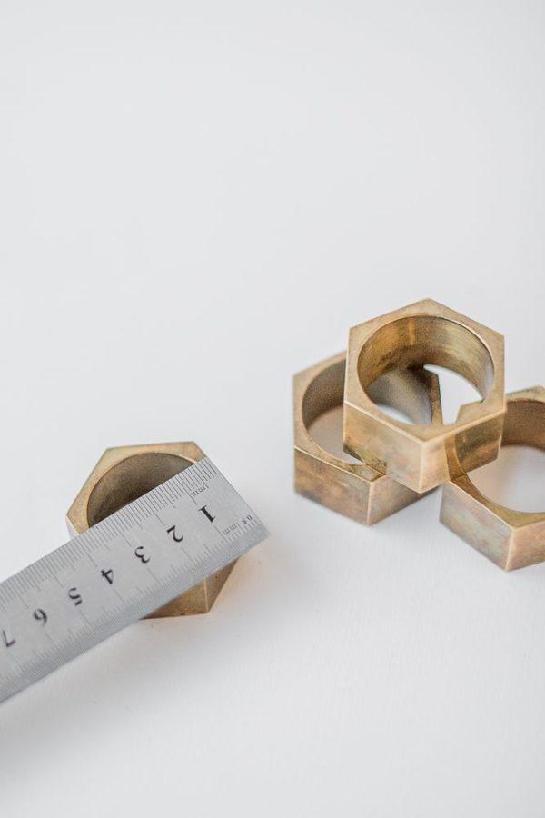 Кольца для салфеток винтажные латунные шестигранные