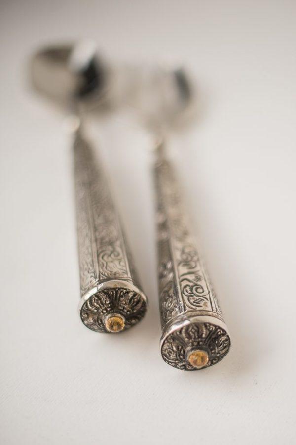 Индийская салатная пара с узорными ручками